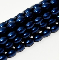 50 Czech Rice Pearls 6 x 4 mm Midnight Blue 70968